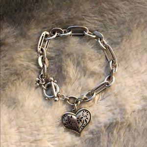 Brighton Silver Heart Pendant Bracelet.